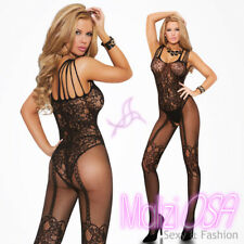 Catsuit Bodystocking Tutina sexy donna Tuta nera aperta lingerie intimo HOT