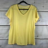 Isaac Mizrahi Live Essentials Pima Cotton V Neck Tee Shirt Stretch Top Womens XL
