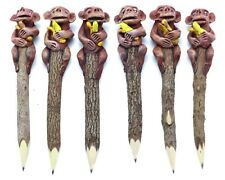 6 Monkey and Banana Handcrafted Wooden Pencil Topper Driftwood Sculpture Sticks