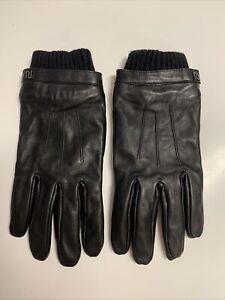 River Island Black Leather Gloves. Mens Size M/L