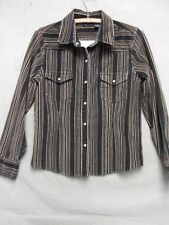 Z3554 Bailey's Point womens brown velour long sleeve pearl snap shirt size S.