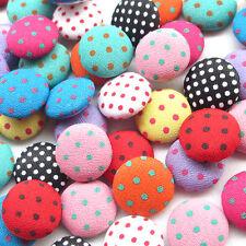 50pcs Polka Dot Flatback Fabric Covered Button Scrapbooking Craft