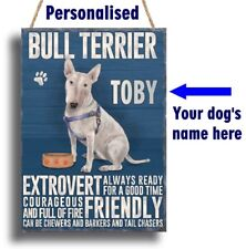PERSONALISED Bull Terrier Dog Breed Plaque Sign gift ANY NAME wall door vintage
