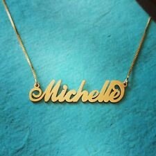 14k Solid Yellow Gold Personalized Custom Name Pendant, Michelle name necklace