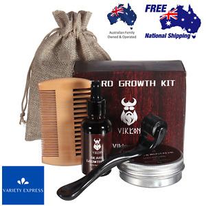 Beard Growth Kit Facial Roller Serum Oil Balm Hair Set Comb Men Care AU SELLER