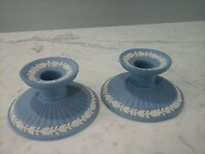 Early Pair of Wedgwood Blue Jasperware Candlesticks Marked & Numbered