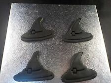 Halloween Cake or Cupcake Toppers set of 12 Witches Hat Handmade Sugarpaste