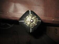 Mw.A776: Handsome Black Porcelain W/Center Silver Embelishmed Walking Stick Cane