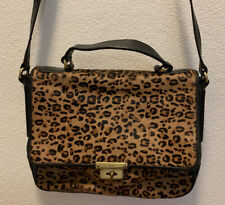 Vintage Fossil Cheetah Calf Hair Black Leather Purse Handbag ZB5428 Memoir