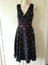Monsoon Black And Red Spotty Wrap Style Dress Size 8