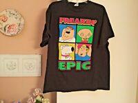 Family Guy Freakin' Epic Peter Stewie Brian Griffin Men's Black T-Shirt XL Tee