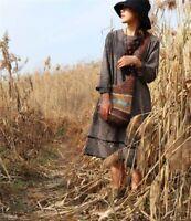 Robe tunique ample carreaux vintage Mori shabby chic ancienne boheme retro Japon