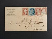 Massachusetts: Boston 1859 #24 & 3 #26 Cover to Caribbean + Letter