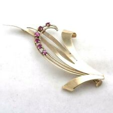 Vintage 14k light rose gold red RUBY brooch Vines large pin Estate