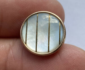 Antique Vintage Carved Pearl In Gold Gilt Metal Button With Inlaid Gold Stripes