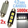 2 Ampoule Navette 42mm 5000k LED 5050 ODB Blanc Plafonnier coffre PLAQUE 2D8 2D8