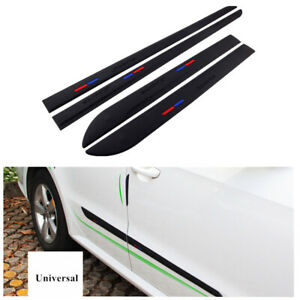 Universal Black Car Body Door Side Trims Edging Strip Sticker Adhesive Tape 4Pcs