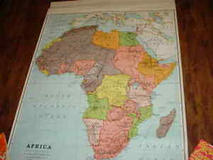 VINTAGE A.J. NYSTROM PULL DOWN MAP   AFRICA   EDITION 1939