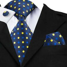 USA Classic Mens Tie Blue Yellow Polka Dot Necktie Bussiness Wedding Set 1446