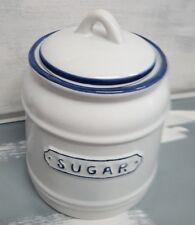 Gisela Graham bote contenedor Azúcar Azúcar Cerámica Blanco Azul Shabby