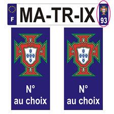 2 Stickers plastifiés FPF PORTUGAL pour plaque d'immatriculation - 10cm x 4,7cm