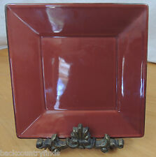 Pottery Barn Paprika Red Solid  Brown Edge Square Asian Japan 1 Salad Plate