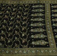 Heavy Vintage Saree 100% Pure Georgette Silk Hand Beaded Woven Sari Fabric