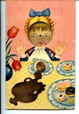 Girl w/ Cakes-Drink Spill-Skill Puzzle-Novelty Squeaker Vintage Postcard-Works!