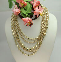 """Vintage Coro 5 Strand 17"""" Gold Tone Bead Chain Tiered ADJ Necklace"""