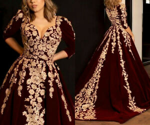 Luxury Burgundy Velvet Prom Dress Gold Lace Applique Arabic Evening Pageant Gown