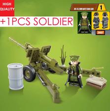 1 minifigure ww2 us + M5 76.2mm Anti Tank gun compatibile lego ww2 brick wwII