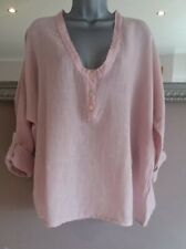 Italian LINEN Front Button LAGENLOOK TOP PLUS SIZE MADE IN ITALY