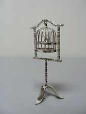 RARE VINTAGE DUTCH .833 SILVER MINIATURE DOLL HOUSE STANDING BIRDCAGE with BIRD