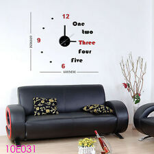 DIY Home Decor Wall Clock 3D Black & Red Stickers Novelty Watch The Hours 10E031