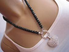 Strass Hals Kette Modekette kurz Perlen Schwarz Silber Carrier Herz Bling A198