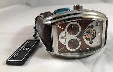LOUIS BOLLE MULTI-FUNCTION AUTOMATIC WATCH BROWN DIAL / TYRIAN PURPLE LEATHER BA