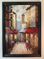 Beautiful FRENCH Impressionist Oil Painting PARIS STREET SCENE 24x36 Canvas