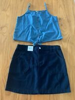Girls size 12 Target Blue denim tank top & Anko  Navy Blue Skirt  NEW