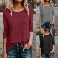 Damen Langarm Bluse Strickshirt Pullover Sweater Sweatshirt Oberteile Tops Basic