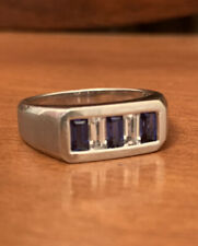Mens 10k Gold Sapphire Ring Size 10.5
