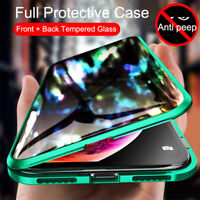 For iPhone XR XS MAX Magnetic Adsorption Glass Anti-peep Hybrid Clear Case Cover