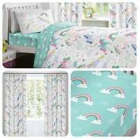 Bedlam RAINBOW UNICORN Multicolour Eyelet Curtains & Cushions
