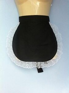 Black pinny apron white lace french maid sissy waitress adult baby catering
