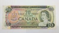 1969 Canada Twenty 20 Dollar Prefix *WN Replacement Circulated Banknote F356