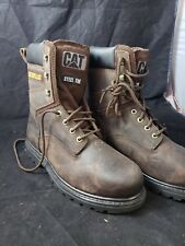 CAT Caterpillar Mens brown Leather Steel Toe Work Boots Very Good size 9