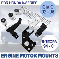 MOTOR ENGINE MOUNT KIT FOR HONDA CIVIC 92-95 SWAP BILLET INTEGRA 94-01 K20 K24