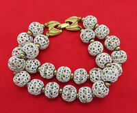 Monet Vintage Bracelet 2 Row White Enamel Filigree Open Cage 7.5 inch Gold 446k