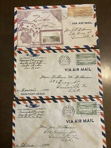 1938 Trans Pacific Hawaii to California Clipper Airmail Covers China Real Photo