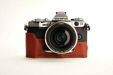 Genuine Real Leather Half Camera Case Bag Cover for Olympus OMD EM5 II M2 Brown