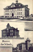 MOOSE JAW SASKATCHEWAN SCHOOLS KING EDWARD, ALEXANDRA + VICTORIA 1908 Postcard